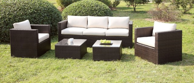 Astounding The Casablanca 5 Pc Outdoor Sofa Set In Ivory And Brown Special Sale Unemploymentrelief Wooden Chair Designs For Living Room Unemploymentrelieforg