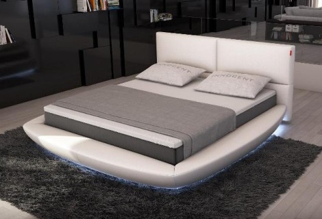 Key Island Modern Rounded Bed with LED Lights