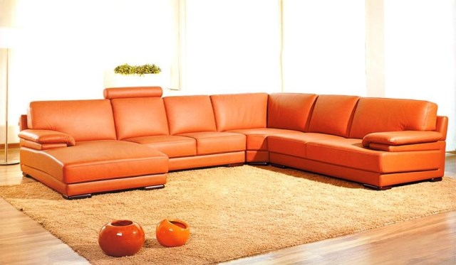 click to enlarge - Modern Leather Sectional