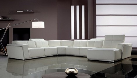 Makenzie's White Leather Sectional