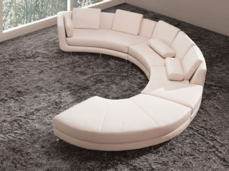 Jewel's White Leather Contemporary Sectional  (2)