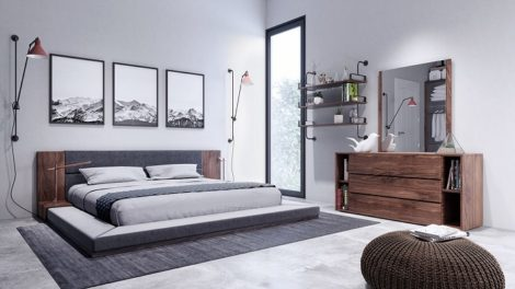 South Shore Grey & Walnut Bedroom Set