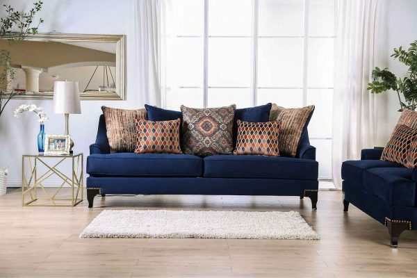 """The Blue Dream"" Contemporary Navy Blue and Espresso Sofa Set – LOW INVENTORY!"
