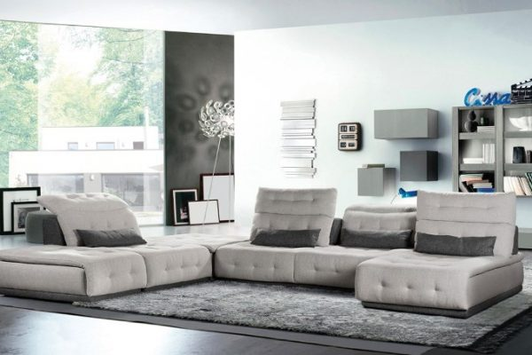 """The Cassano"" Italian Light & Dark Grey Fabric Sectional Sofa – COMING IN APRIL!"
