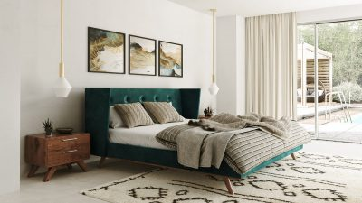"""The Elizabeth Taylor"" Modern Green Fabric and Walnut Bedroom Collection"