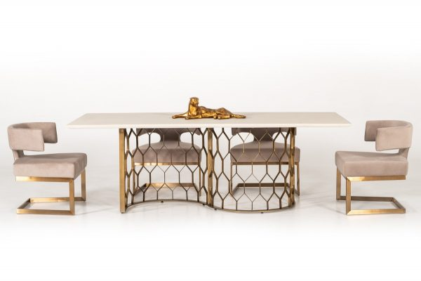 """The Emperor"" Modern White Concrete & Antique Brass Dining Collection – COMING IN FEBRUARY!"