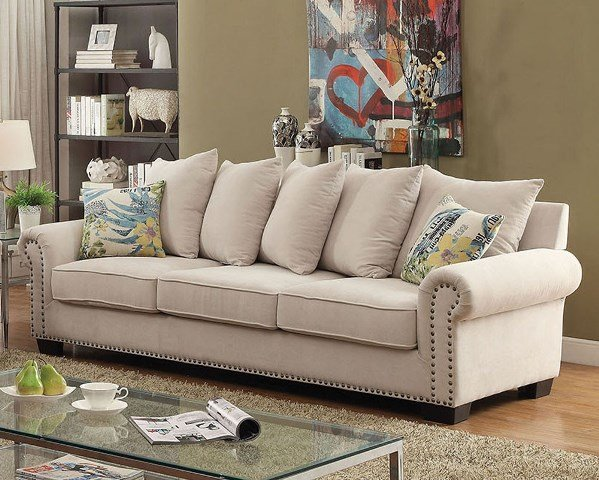 """""""The Gabrial"""" Cozy Ivory Sofa Collection"""