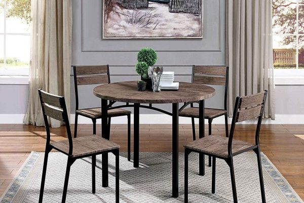 """The Industrial"" Alluring Wood and Metal Dining Set"