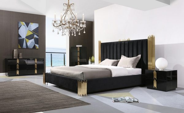 """The Kings Lair"" Elegant Black & Champagne Gold Bedroom Set – COMING IN JANUARY!"