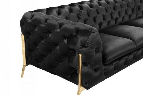 """""""The Liberace"""" Modern Black Velvet Sectional Sofa"""