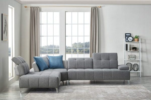 """The Lighthouse"" Contemporary Grey Tufted Fabric Sectional Sofa w/Adjustable Backrest – COMING IN DECEMBER!"