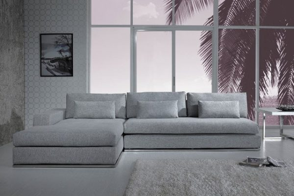 """The Myra"" Modern Fabric Sectional in Light Grey"