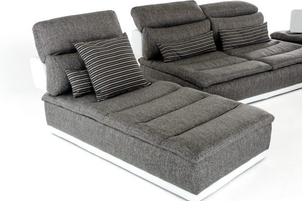 """The Panoramic"" Modern Grey Leather and Grey Fabric Sectional – COMING IN JANUARY!"