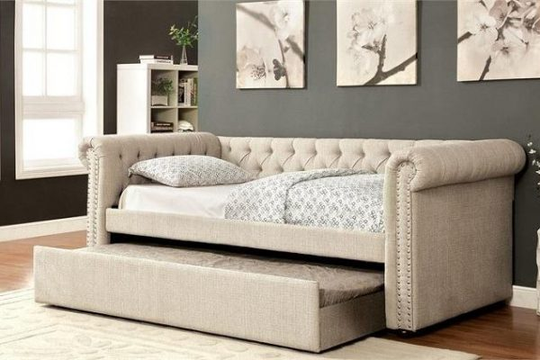 """The Rebecca"" Beige Tufted Daybed w/ Trundle in Twin, Full or Queen"