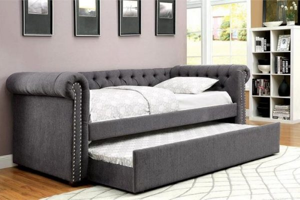 """""""The Rebecca"""" Grey Tufted Daybed w/ Trundle – COMING IN FEBRUARY!"""
