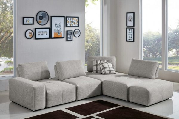 """The Sasha"" Modern Grey Fabric Sectional"