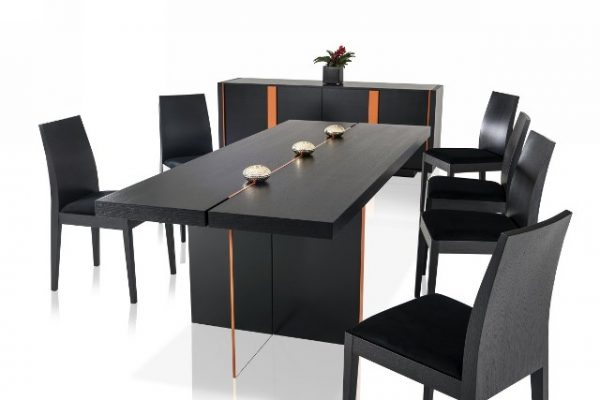 """The Satini"" Modern Black Oak Dining Set & Collection"