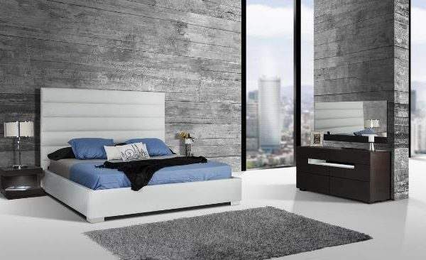 """The Silverado II"" Modern White Leatherette Bed Collection – SOLD OUT, NO ETA"