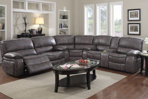 """The Soho"" Grey ""Elephant Skin"" Motion Sectional"
