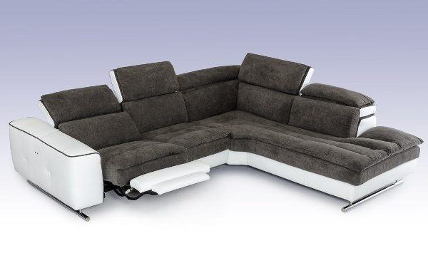 """The Stargazer"" Italian Modern Grey Fabric & White Leather Sectional Sofa – LOW INVENTORY!"
