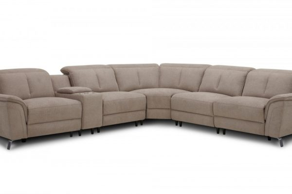 """True Elegance"" Modern Taupe Fabric Sectional with Three Recliners – LOW INVENTORY!"