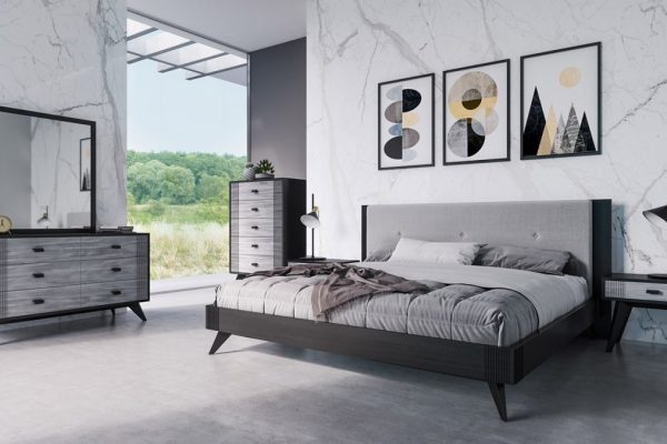 "The ""Black Panther"" Contemporary Grey & Black Bedroom Set"