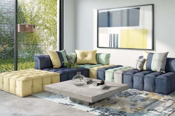 """The Dubai"" Modern Modular Fabric Sectional Sofa"